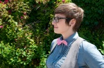Female in pink bow tie
