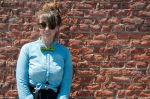 Hipster female in bow tie