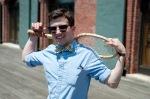 male bow tie, tennis racket